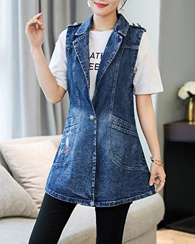 Gilet Tempo Vintage Lunga Cappotto Jeans Plus Women Blu Ricamo Primaverile Eleganti Prodotto Giovane Smanicato Libero Donna Jacket Autunno Moda Bavero Iq18xwnq7