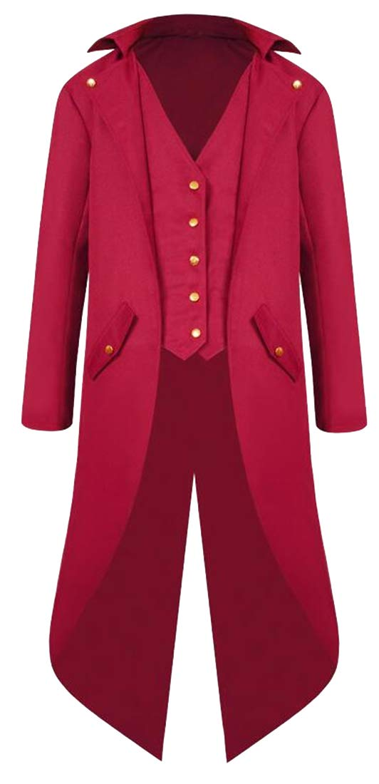 YYG Men Single Breasted Wedding Party Tailcoat Tuxedo Punk The Medieval Times Trench Coat Jacket Outerwear Red XL