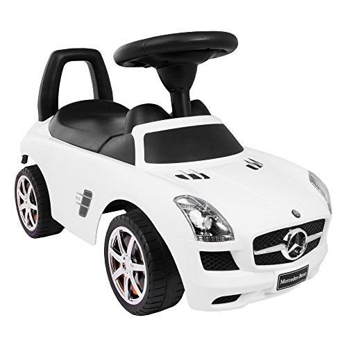 KP0231 Weiss Kinderspielzeug-Auto zum Aufsitzen/Schieben, Mercedes-Auto mit Sound-Effekten