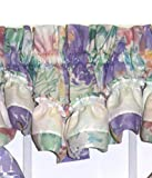 plum window scarf - Nelly Country Style Ruffled Lilac Floral Filler Valance Curtain 32-Inch-by-14-Inch - 1 1/2 Inch Rod Pocket