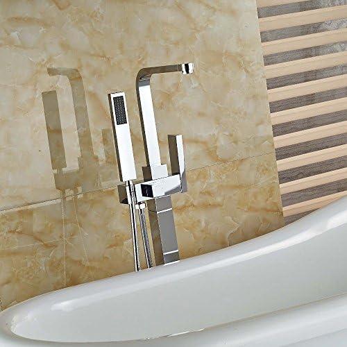 DXX-HR ハンドシャワースプレークロームブラス、マルチとの蛇口シングルハンドルの浴室の浴槽の蛇口無料立ちスクエアタブミキサータップ