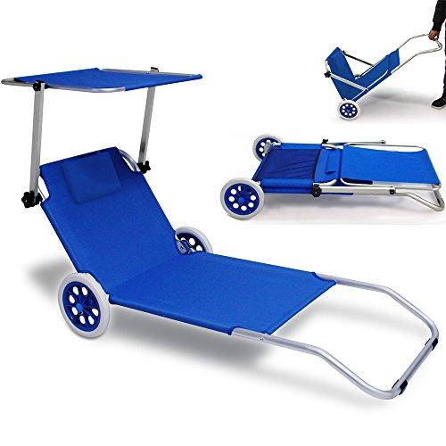 "Deuba Beach Lounger ""Crete"" With Wheels | Sun Tanning Sunbathing Chair..."