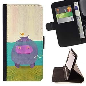 For Samsung Galaxy S4 Mini i9190 (NOT S4) Case , Arte animal de la historieta del pájaro Hippo Water River- la tarjeta de Crédito Slots PU Funda de cuero Monedero caso cubierta de piel