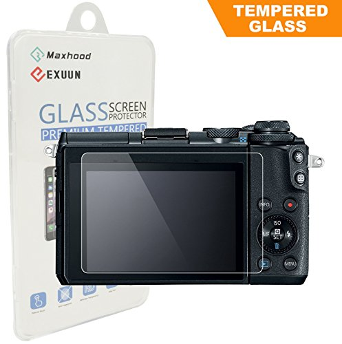 Exuun Canon EOS M6/EOS M100 Tempered Glass Screen Protector, Optical 9H Hardness 0.3mm Ultra-Thin DSLR Camera Tempered Glass for Canon EOS M6, EOS M100