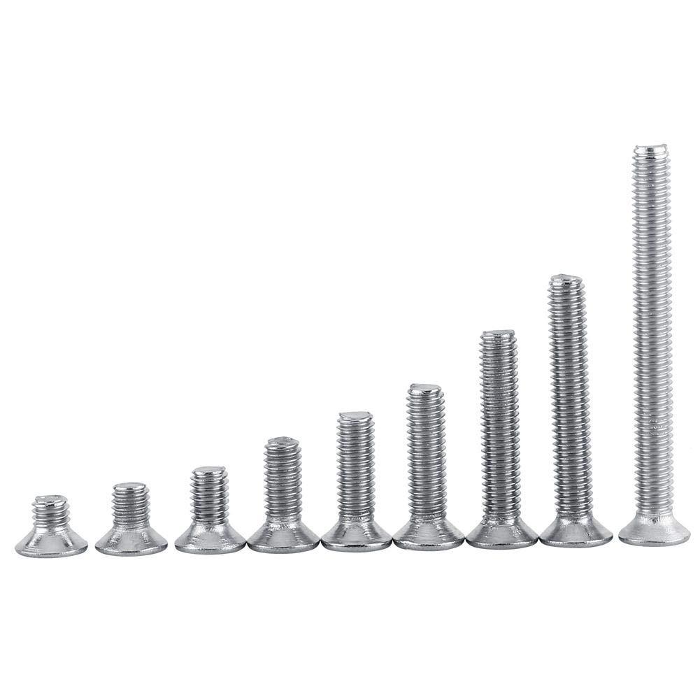 100pcs M3 Vis Cylindriques /à T/ête Plate Vis /à T/ête Frais/ée Vis M/écaniques Boulon en Acier Inoxydable SS304 12mm