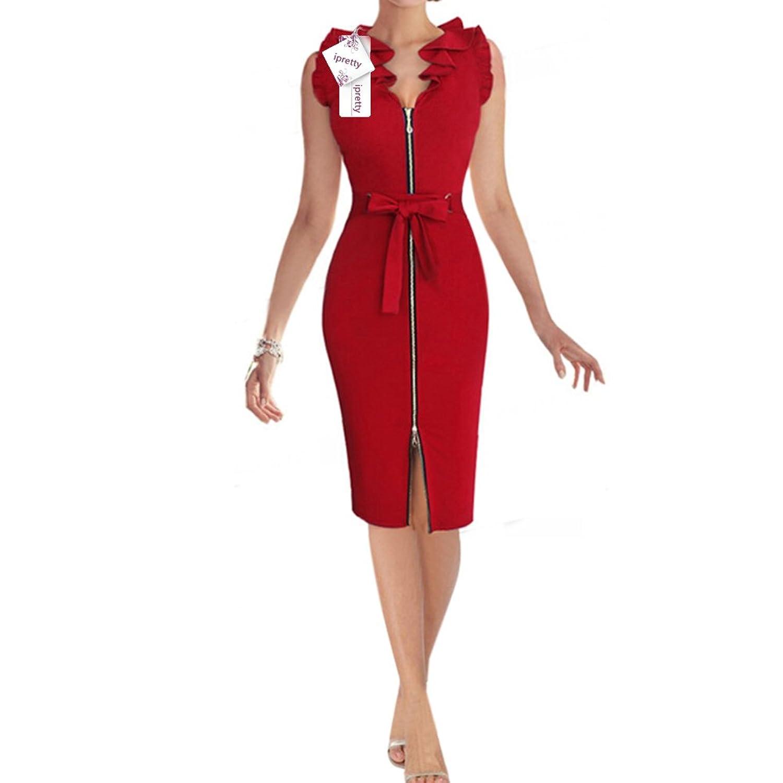 ipretty bürokleid damen Kleid vintage sexy Sommerkleid Rock ...