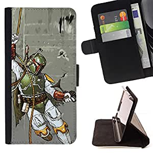For Apple Iphone 6 Boba Fett - Hunter Beautiful Print Wallet Leather Case Cover With Credit Card Slots And Stand Function