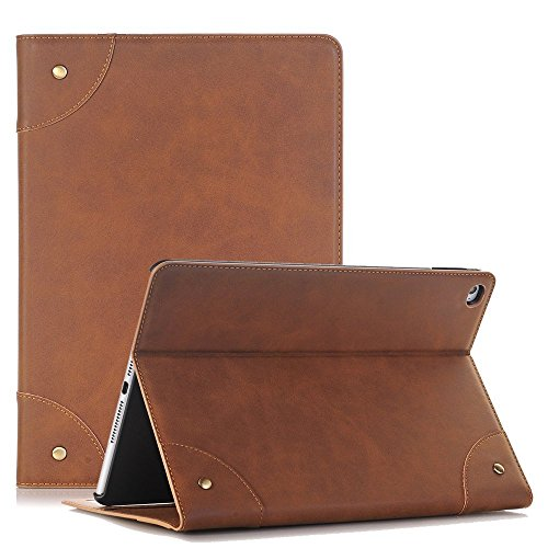 iPad Air 2 Case Cover,TechCode Screen Protective Luxury Book Style Folio Case Stand with Card Slots Smart Case Cover for Apple iPad Air 2 9.7 inch Tablet (iPad Air 2, Light Brown)