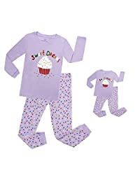 Elowel Cupcake Matching Girl & Doll 2 Piece Pajama Set 100% Cotton (Size 2-12 Years)