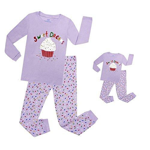 Elowel Cupcake Matching Girls & Doll 2 Piece Toddler Kids Pajamas pjs 100% Cotton Size 7