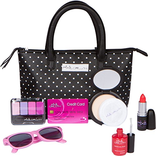 PixieCrush Pretend Play Makeup Purse Kit For Girls - Realistic Cosmetic Toys, Lipstick, Nail Polish, Sunglasses & More - Improve Imagination & Creativity, Build Emotional & Social Skills… New Fashion Makeup Kit