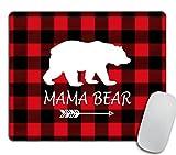 Mama Bear Mousepad - Buffalo Plaid Personalized Design Non-Slip Rubber Mouse pad