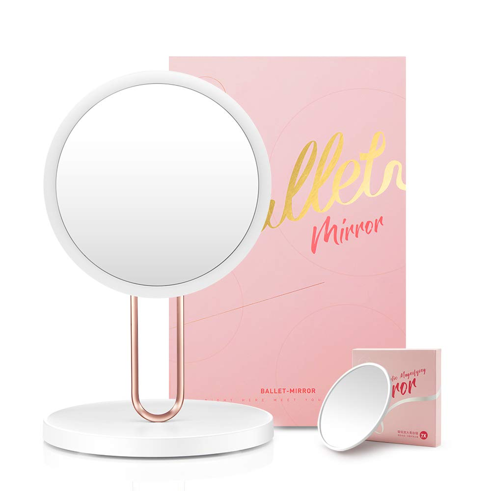 Funtouch Smart Lighted Vanity Makeup Mirror with Natural Daylight LED Lights USB Rechargeable, Adjustable Brightness, High Definition Countertop Cosmetic 7X Magnifying Mirror with Gift Package White