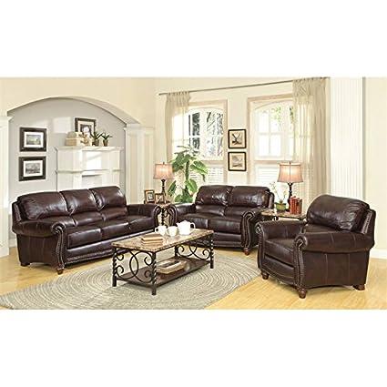 Amazon.com: Coaster Lockhart 3 Piece Leather Sofa Set in Burgundy ...