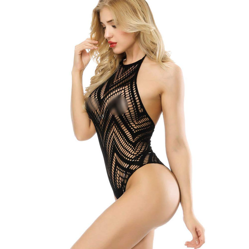 e74b386ce0 Advoult Womens Lingerie Sexy Bodysuit Fishnet Bodystocking Halter Teddy  Underwear with Pasties product image