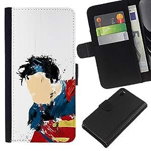 JackGot ( Super Man Art ) Sony Xperia Z3 D6603 la tarjeta de Crédito Slots PU Funda de cuero Monedero caso cubierta de piel