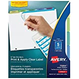 Avery Index Maker Clear Label Dividers for Laser and Inkjet Printers, 5 tabs, Pastel, 1 Set, (11994)