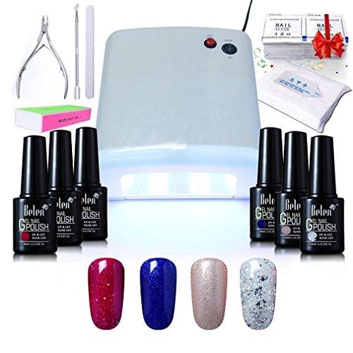 Gel Nail Polish Qatar: Gel Nail Starter Kit , Belen 4 Colours Soak-off Lacquer UV