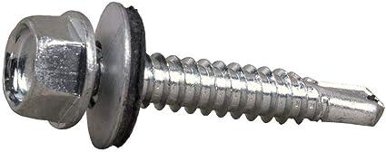 Self Forage Vis avec rondelle d/'étanchéité zinc plaqué pour Métal Revêtement Tête Hexagonale