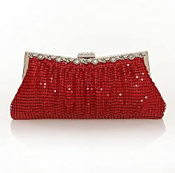 Damara Womens Metal Mesh Crystal Mini Clutch Evening Bag, Gold