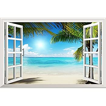 Wall26 White Sand Beach With Palm Tree Open Window Wall Mural, Removable  Sticker, Home Decor   36x48 Inches