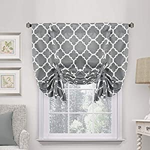H.VERSAILTEX Thermal Insulated Grey Blackout Curtain – Tie Up Shade for Small Window (Rod Pocket Panel, 42″ W x 63″ L, Moroccan Printed in Gray)