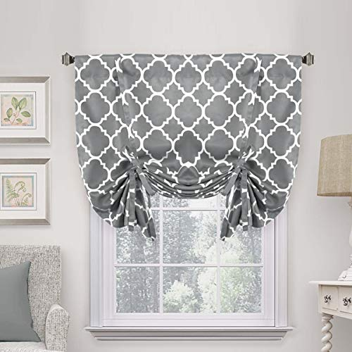"H.VERSAILTEX Thermal Insulated Grey Blackout Curtain - Tie Up Shade for Small Window (Rod Pocket Panel, 42"" W x 63"" L, Moroccan Printed in Gray)"