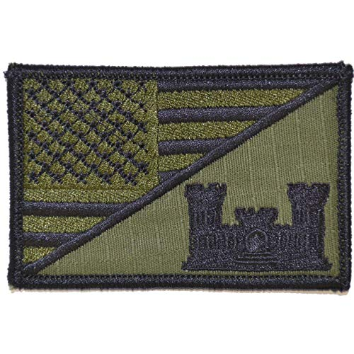 Usa Engineer - Engineer Castle USA Flag - 2.25x3.5 Morale Patch - Olive Drab