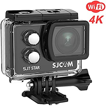 """SJCAM SJ7 Star Wifi Action Camera, 4K@30FPS Ambarella A12 Chipset/2"""" TouchScreen/Sony Sensor/ Wireless Remote Control supported /Gyro Stabilization,Waterproof Underwater Camera (Case Included)- Black"""