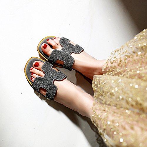 de elegante Rocío Sandalias 35 zapatos Salvaje Transpirable AJUNR playa gris el toe mujer calzado y 37 base plana Moda de ASw5qwO