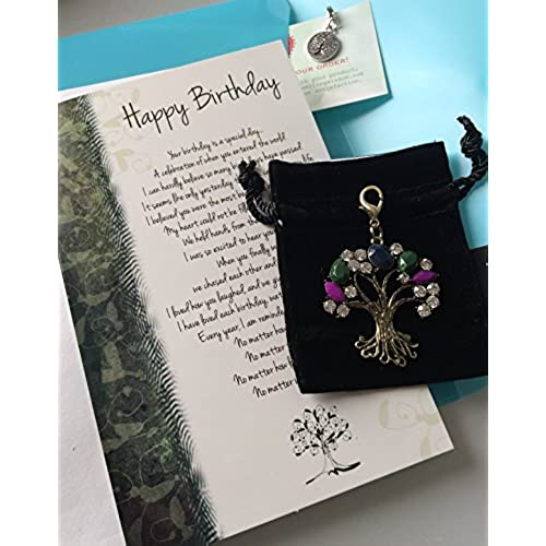 Son birthday cards amazon smiling wisdom love grows happy birthday greeting card for older child or young adult gemstone colored tree charm in velvet satin lined bag extra m4hsunfo