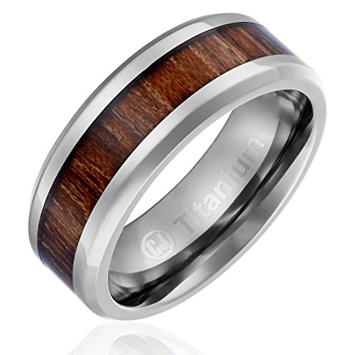 8MM Titanium Promise Engagement Rings for Men | Wedding Bands for Him | Hawaiian Koa Wood Inlay [Size 9.5] ()