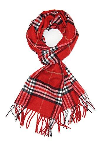 Achillea Classic Plaid Check Cashmere Feel Winter Scarf (Red Plaid)