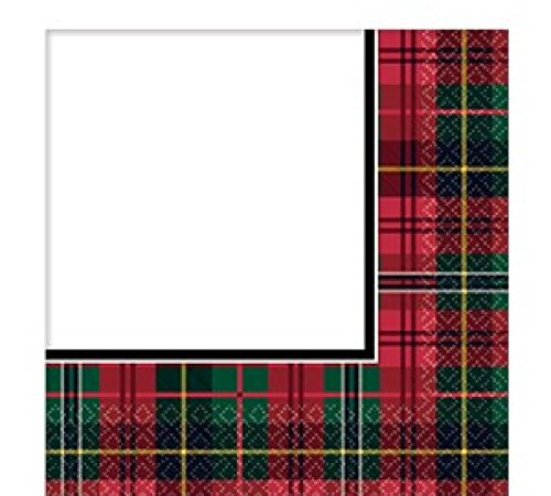 Fancy Me Traditional Christmas Party Celebration Decoration Paper Tableware Scottish Tartan Red Green Cups Plates Napkins Tablecover (Napkins)