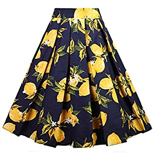Dressever Women's Vintage A-line Printed Pleated Flared Midi Skirts 20