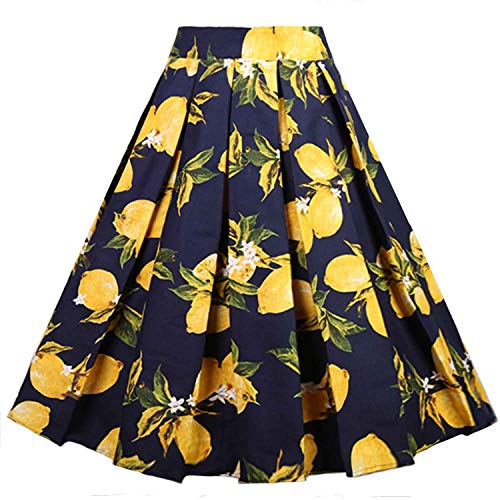 Dressever Women's Vintage A-line Printed Pleated Flared Midi Skirts Lemon (Navy) Large