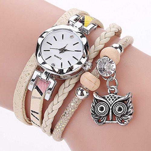 Outsta Watch Fashion Women Girls Analog Quartz Owl Pendant Ladies Dress Bracelet Watches for Girls Women Gift Present (Yellow) ()