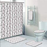 Hexagon Pink Multi Shower Curtain Bathroom 5 Piece Set shower curtain 3d print Multi Style,Lighthouse,Notebook Pattern with Nautical Elements Seagulls and Anchors Doodle Style Decorative,Pink Lilac Black,Bath Mat,Bathroom Carpet Rug,N
