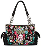 Colorful Owl Flower Rhinestone Concealed Purse Country Western Spring Style Handbag Women Shoulder Bags (Black)