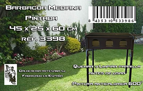 Caldereria Artesana 3398 - Barbacoa Mediana Pintada 450x250x600mm: Amazon.es: Jardín