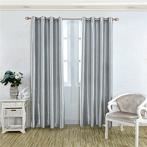 Meilianjia One Side Coated Black Silk Good Shading Solid Multi Size Optional Thermal Insulated Blackout Energy Saving Custom Curtains 100  W X 84  L One Panel  Silver Gray