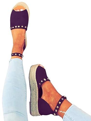 f6d7d62362f74b Womens Espadrilles Platform Sandals Ankle Strap Peep Toe Cut out Dress D orsay  Shoes