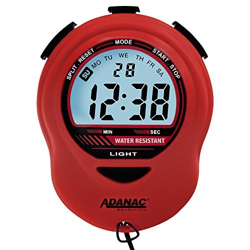 Marathon ST083013RD Adanac Digital Glow Stopwatch Timer with Extra Large Display and Digits - Battery Included (Red)