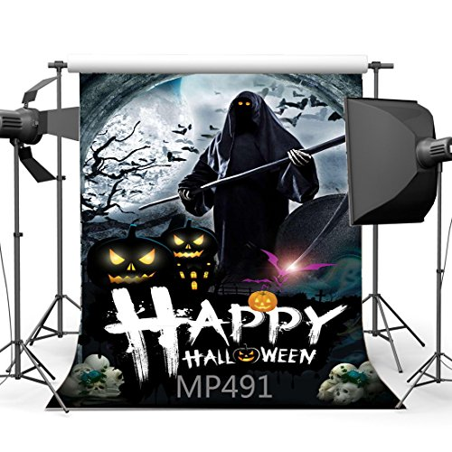 5X7FT/150X210cm Vinyl Photography Backdrop Halloween Horror Night Pumpkin Skulls Moon Bats Arch Scene Seamless Kids Children Masquerade Costume Party Photo Background Photo Studio Props MP491 (Halloween Costume Using Umbrella)