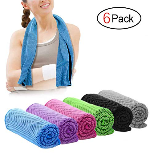 Infree 6 Pack Cooling Towel 40x12 Inches, Ice Towel, Soft Breathable Chilly Towel, Microfiber Towel for Yoga, Sport, Running, Gym, Workout,Camping, Fitness, Workout & More Activities by Infree