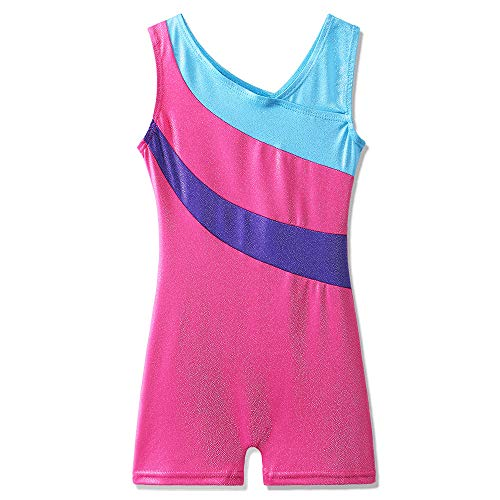 Toddler Girls Leotards for Gymnastics Sparkle Colorful Painted Tank Biketards 4-11Y (Biketard Dress)