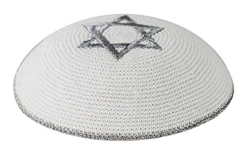 Zion Judaica Knit Quality Kippot for Affairs or Everyday Use Single or Bulk Orders - Optional Custom Imprinting Inside for Any Event (1PC, White with Silver Star)