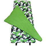 Original Nap Mat, Wildkin Children's Original Nap Mat with Built in Blanket and Pillowcase, Pillow Insert Included, Premium Cotton and Microfiber Blend, Children Ages 3-7 years – Green Camo