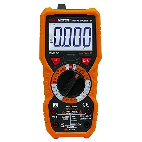 PEAKMETER PM18C Digital Multimeter DC AC Multimeter Voltage Current Tester Manual Range Backlight with 6000 Counts Orange Cover by PEAKMETER
