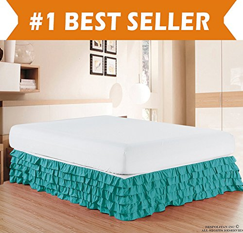 Elegant Comfort Luxurious Premium Quality 1500 Thread Count Wrinkle and Fade Resistant Egyptian Quality Microfiber Multi-Ruffle Bed Skirt - 15inch Drop, King, Turquoise (Turquoise Bed Skirt King)